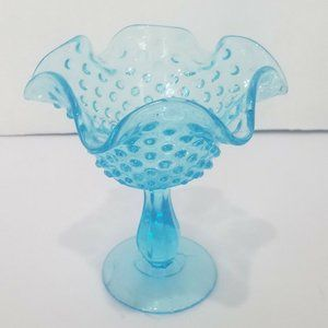 Fenton Candy Nut Dish Bowl Compote Light Blue Foot